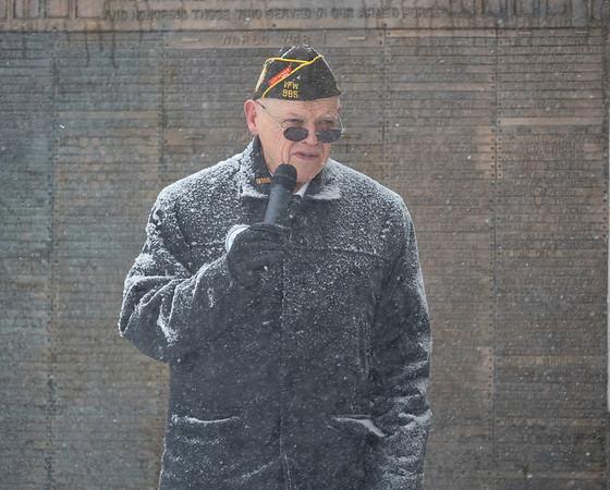 Joseph Weiser | The Goshen News<br /> John Alheim of Goshen delivers the opening remarks during the Goshen Veteran's Day Ceremony at the Elkhart County Court House Monday.