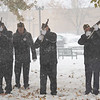 Joseph Weiser | The Goshen News<br /> VFW Post 985 Honor Guard performing taps during the Goshen Veteran's Day Ceremony at the Elkhart County Court House Monday.