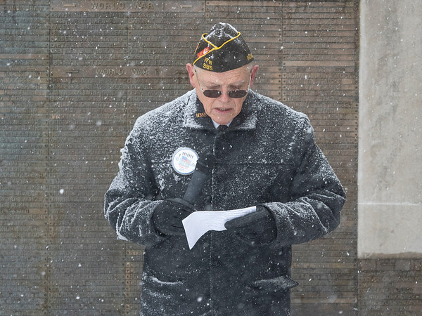 Joseph Weiser   The Goshen News<br /> John Alheim of Goshen delivers the opening remarks during the Goshen Veteran's Day Ceremony at the Elkhart County Court House Monday.