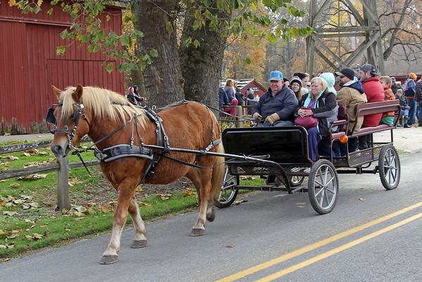 JOHN KLINE | THE GOSHEN NEWS<br /> Visitors are treated to a horse-drawn carriage ride during the annual Holiday at the Mill celebration at Bonneyville Mill County Park in Bristol Saturday morning.