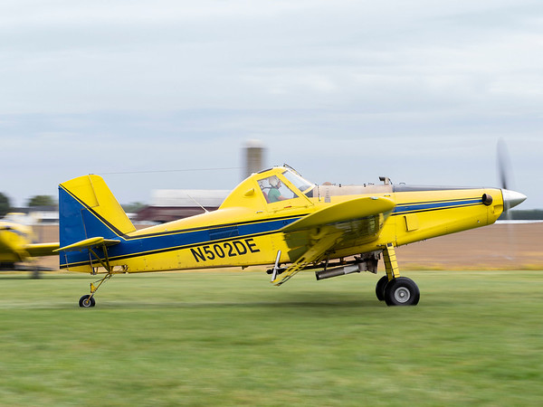 Joseph Weiser   The Goshen News<br /> Pilot of Agriflight in Wakarusa takes off from Eby Field-1174 in an Air Tractor 502 with fertilizer attachment on Wednesday, October 02. 2019.