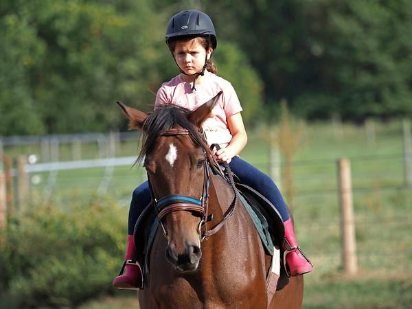 Joseph Weiser   The Goshen News<br /> Greenlee Munoz age 7 of Goshen participating in horse riding classes at Savage Riding in Goshen Tuesday.