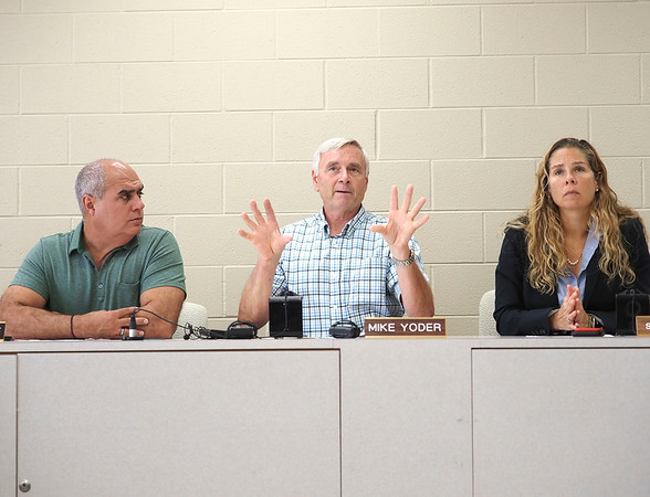 Joseph Weiser   The Goshen News <br /> Elkhart County Commissioner Frank Lucchese, Mike Yoder, and Suzie Weirick speak about the effects of the EEE virous spray during a news conference at the Elkhart County Administration Building in Goshen, IN on October 1, 2019.