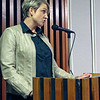 Roger Schneider | The Goshen News<br /> Heather Tobias Harren, co-owner and manager of the new The O restaurant along Lincoln Avenue in Goshen, speaks at a DNR hearing Wedesday against the installation of a fence at Linway Plaza that would be place on three sides of her business.