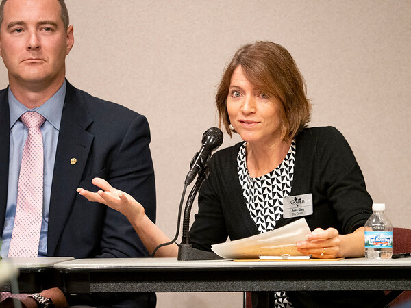 Joseph Weiser   The Goshen News<br /> Goshen City Council at-large candidates Brett Weddell (left) and Julia King (right) address the public during the candidate forum at the Goshen Public Library Tuesday evening.
