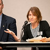 Joseph Weiser | The Goshen News<br /> Goshen City Council at-large candidates Brett Weddell (left) and Julia King (right) address the public during the candidate forum at the Goshen Public Library Tuesday evening.