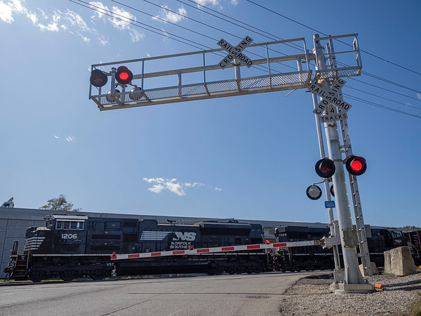Joseph Weiser   The Goshen News<br /> East Lincoln Ave railroad crossing was damaged by a fleeing vehicle early Monday morning.