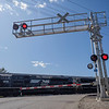 Joseph Weiser | The Goshen News<br /> East Lincoln Ave railroad crossing was damaged by a fleeing vehicle early Monday morning.