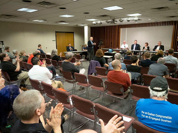 Joseph Weiser   The Goshen News<br /> Goshen City Council at-large candidates David Daugherty, Brett Weddell, Julia King and Charles Mumaw address the public during the candidate forum at the Goshen Public Library Tuesday evening.