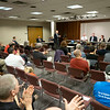 Joseph Weiser | The Goshen News<br /> Goshen City Council at-large candidates David Daugherty, Brett Weddell, Julia King and Charles Mumaw address the public during the candidate forum at the Goshen Public Library Tuesday evening.