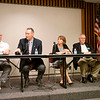 Joseph Weiser | The Goshen News<br /> Goshen City Council at-large candidates, from left, David Daugherty, Brett Weddell, Julia King and Charles Mumaw address the public during the candidate forum at the Goshen Public Library Tuesday evening.