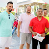 AIMEE AMBROSE | THE GOSHEN NEWS <br /> Rafael Celis, owner of Taqueria El Maza in Goshen, stands with salsa judges Mayor Jeremy Stutsman, food columnist Marshall King and local business owner Tony DeMarco at the end of the fourth annual Salsa Festival at Goshen Farmers Market, 212 W. Washington St., Saturday. Taqueria El Maza won in the Best Business and People's Choice categories for best salsa at the event.