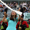 Roger Schneider | The Goshen News<br /> NorthWood color guard member Paige Blosser prepares to catch her twirling rifle Saturday during the band's performance at the Concord invitational. More photos from the event are on A7 and at goshennews.com.