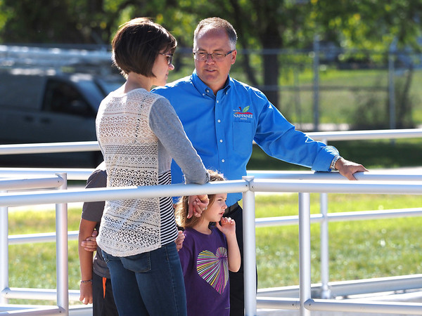 Joseph Weiser | The Goshen News<br /> Nappanee Mayor Phil Jenkins gives a tour of the Nappanee sewer overflow plant to Mary Dale, Brayden Dale, and Madison Dale on Thursday, September 26, 2019 at the Nappanee Waste Treatment Plant in Nappanee, IN.