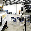 AIMEE AMBROSE | THE GOSHEN NEWS <br /> Desk chairs are arranged for a potential training session in the bay area of the new RV Technical Institute along Middlebury Street in Elkhart. The facility opened Monday with a focus on providing training for recreational vehicle service technicians.