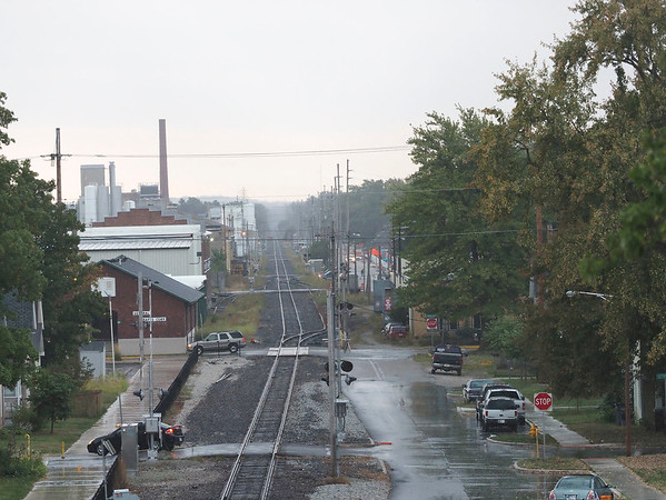 Joseph Weiser | The Goshen News<br /> A view of 9th street from the U.S. 33 overpass during the thunderstorm coming through Goshen, IN on Friday, September 27, 2019.