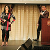 AIMEE AMBROSE | THE GOSHEN NEWS <br /> Toni Bailey, Elkhart, models an outfit as the hosts introduce her story during the 2019 Fashion Show, which served as fundraiser for Cancer Resources for Elkhart County at the Lerner Theatre in Elkhart Wednesday.