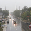 Joseph Weiser   The Goshen News<br /> A view of 8th street from the U.S. 33 overpass during the thunderstorm coming through Goshen, IN on Friday, September 27, 2019.