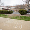 Members of the community sends positive messages to the staff at Goshen Health Hospital on the sidewalk in front of the Emergency Room Monday morning.