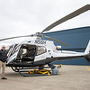 JOSEPH WEISER | THE GOSHEN NEWS<br /> Goshen Municipal Airport Manager Randy Sharkey speaks about how the Covid-19 outbreak is affecting airport operations in front of a helicopter Wednesday afternoon at the Goshen Municipal Airport.