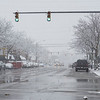Snow returns to Goshen Friday morning. A view of Main Street at the intersection of Main Street and West Washington Street.