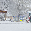 A snow covered scene of Walnut Park Friday afternoon. The playground equipment remains off limits to reduce the spread of COVID-19. The park is located at 224 E. Oakridge Ave., Goshen.