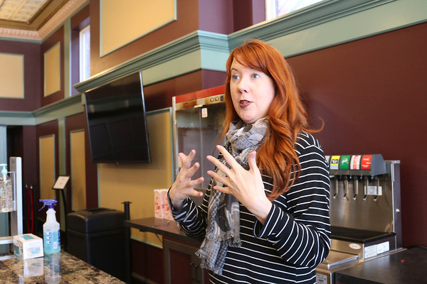 Goshen Theater Manager Amber Burgess talks about the updates to The Goshen Theater Friday afternoon.