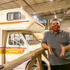 Jose Rodriguez, administrative manager of the RV/MH Hall of Fame in Elkhart County, speaks during an interview Tuesday while standing next to a 1978 Coachman Leprechaun Ford Chateau Camper Special at the facility.