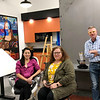Artists Cho Long McGowan, Diane Overmyer and President of the Nappanee Art Council Jeff Stillson chat in the workspace of the newly opened Nappanee Art Center, 253 W Market St. Having the working studio will allow artists to bounce ideas off each other.