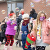 Adelynn Higdon, right front, Harper Hedges, middle, Cecelia Fry, left rear, and their classmates play in the bubble machine during the parade Thursday afternoon at Jefferson Elementary. The parade was to honor fighters, police, nurses, Middlebury Community Schools administration, Jefferson Community Church, and bus drivers. Over 1,000 items were donated to the Jefferson Food Pantry.