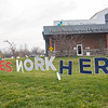"A ""Heroes Work Here"" sign sits in front of the Goshen Physicians Family Medicine and Urgent Care Friday afternoon located at 2824 Elkhart Rd. in Goshen."