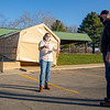 Center for Healing & Hope executive director Missy Schrock, left, speaks with volunteer Don Jantzi about plans for the new COVID-19 testing site in front of the Schrock Pavilion Wednesday afternoon at Shanklin Park in Goshen.