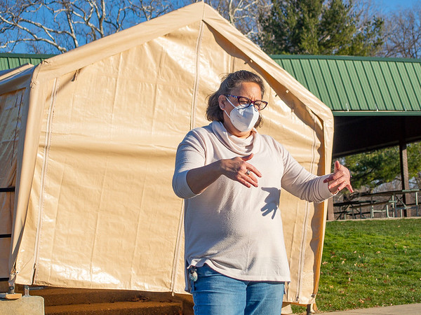 Center for Healing & Hope executive director Missy Schrock speaks about plans for the new COVID-19 testing site in front of the Schrock Pavilion Wednesday afternoon at Shanklin Park in Goshen.