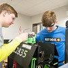 From left, Pixelated robotics team members Greg Fetzmacirue, 17, of Granger, and Ben Pamaehenu, 16, of Mishawaka, work on their robot Saturday at Ethos Innovation Center in Elkhart. The Ethos Innovation Center is located at 1025 N. Michigan St., Elkhart.