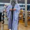 Caleb Morris, of Goshen, dresses up as Professor Albus Dumbledore at Fables Books Thursday evening during the Harry Potter Book Night.