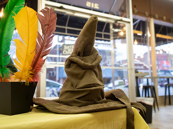 The Sorting Hat greets Harry Potter Book Night attendees at Fables Books Thursday evening.