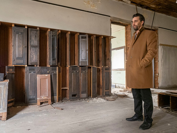Goshen Mayor Jeremy Stutsman speaks about renovations to the city Annex building in front of the original lockers on the second floor of The city Annex building is in the original Goshen High School built in 1904 located at 204 E. Jefferson St., Goshen.