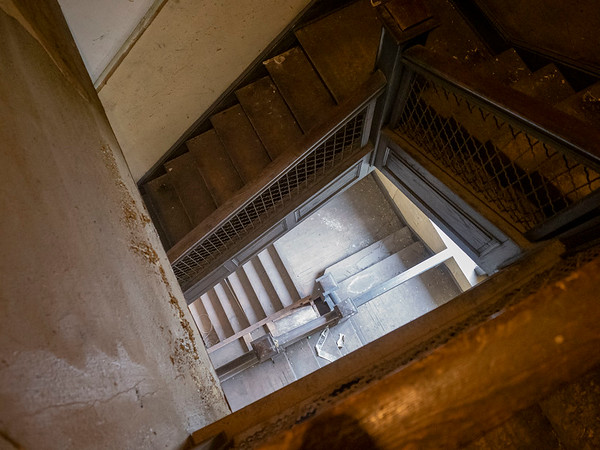A view of the staircase leading  up to the original Goshen high school gym on the third floor of the city Annex building. The city Annex building is in the original Goshen High School built in 1904 located at 204 E. Jefferson St., Goshen.