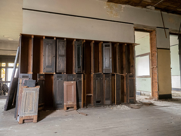 A view of the original lockers on the second floor of the city Annex building. The city Annex building is in the original Goshen High School built in 1904 located at 204 E. Jefferson St., Goshen.