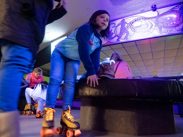 Hayden Reeder, 9, of Goshen, heads out to the skating rink after putting on her skates during the Heritage Intermediate School Skating Night at Eby's Family Fun Thursday. Eby's Family Fun is located at 14583 State Road 120, Bristol.  Eby's offers lots of family activities including roller skating, arcade games, and laser tag.