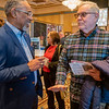 """Elkhart City Councilman Arvis Dawson speaks with former Goshen Mayor Allan Kauffman during """"The Big Event"""" at the Lerner Theatre in Elkhart Wednesday."""