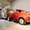 A exterior view of a Studebaker truck with a 1954 Spartan Imperial Mansion 8x42 Foot Mobile Home at the RV/MH Hall of Fame Tuesday.