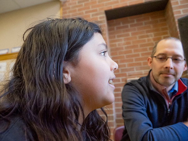 """Chandler Elementary fifth-grader Nadia Rodriguez, 10, of Goshen, speaks to Andrew Kauffman, New Tech Instructional Coach, right, and co-producer Alec Nesbitt, 11, of Goshen, (not pictured), about how she wants to become an artist during a Chandler Words by Design Podcast Wednesday. The podcasts are being produced to share the thoughts, stories, and ideas of some young creators. Our show is built around the ideas of students from one elementary school, looking to share our voices with the world. You can follow the podcast channel at this link: <a href=""""https://anchor.fm/andrew-kauffman7"""">https://anchor.fm/andrew-kauffman7</a>"""