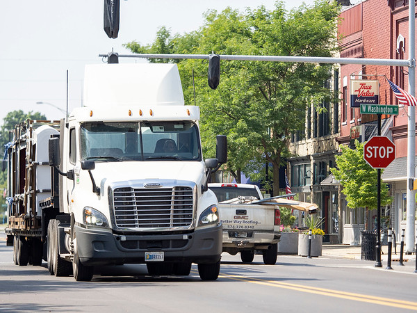A semitrailer crosses through the intersection of South Main Street and West Washington Street Wednesday morning. Tuesday the Goshen City Council voted to ban trucks or commercial vehicles exceeding 20 feet in length from traveling along the downtown portion of  Main Street from Pike Street to Madison Street.