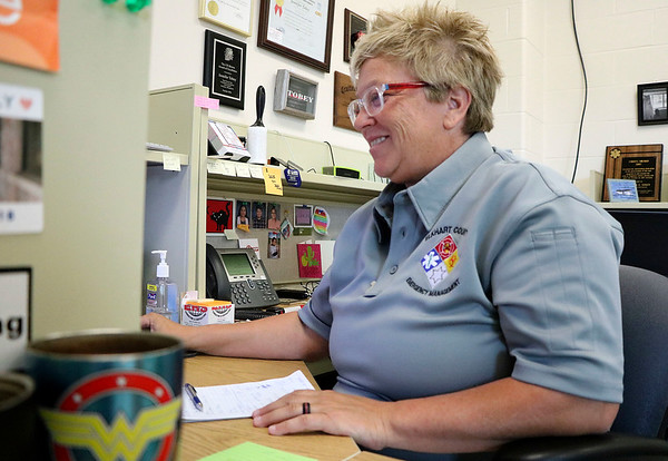 Jen Tobey works at her desk while serving in her role as director of the Elkhart County Emergency Management Agency.