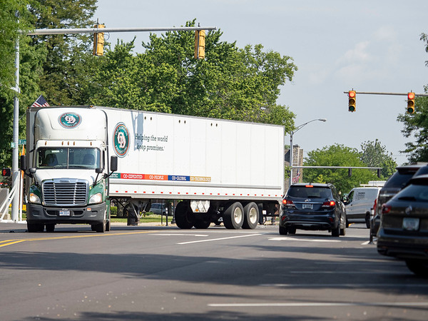 An Old Dominion Freight Line semitrailer turns onto South Main Street from East Lincoln Avenue Wednesday morning in downtown Goshen. Tuesday the Goshen City Council voted to ban trucks or commercial vehicles exceeding 20 feet in length from traveling along the downtown portion of  Main Street from Pike Street to Madison Street.