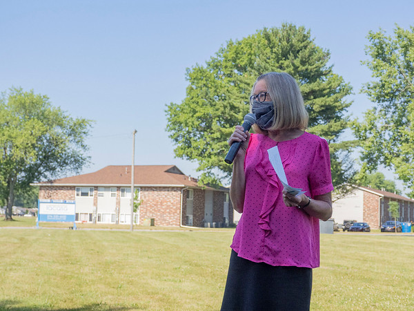 Oaklawn President and CEO Laurie Nafziger speaks to the Goshen Chamber of Commerce members Monday morning during the Westplains Apartments II Groundbreaking in Goshen.