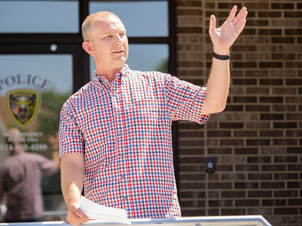 Town of Walkarusa Town Council Matt Moyer speaks to the crowd gathered Thursday afternoon at the Wakarusa Police Station during the Ribbon Cutting Ceremony at 102 Spring Street in Wakarusa.