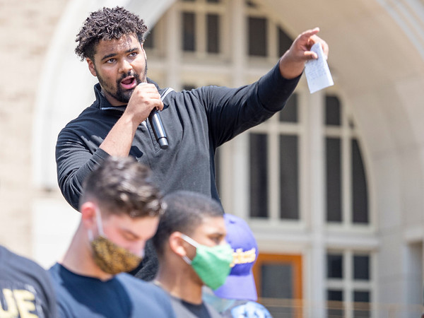 Notre Dame offensive lineman Max Siegel delivers his remarks to the crowd at the Irish Green on Notre Dame Campus Friday afternoon during Notre Dame's celebration of Juneteenth with peaceful prayer and walk.