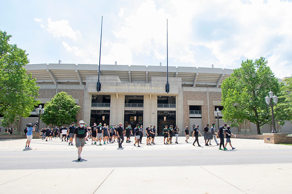 Notre Dame defensive lineman Daelin Hayes and Head Coach Brian Kelly lead the Juneteenth celebration in front of Notre Dame Stadium Friday afternoon during Notre Dame's celebration of Juneteenth with peaceful prayer and walk.